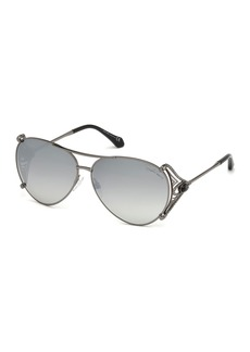 Roberto Cavalli Metal Aviator Sunglasses  Black
