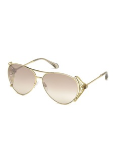 Roberto Cavalli Metal Aviator Sunglasses  Gold