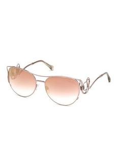 Roberto Cavalli Metal Swirl Aviator Sunglasses