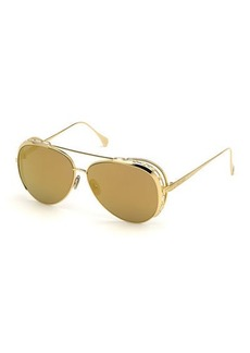 Roberto Cavalli Mirrored Aviator Sunglasses w/ Swarovski Crystal Trim