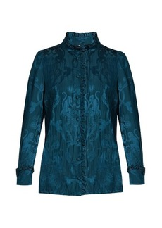 Roberto Cavalli Monkey and snake-jacquard ruffled blouse