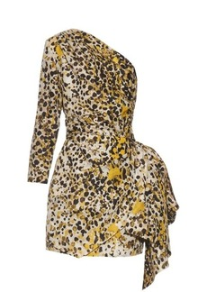 Roberto Cavalli One-shoulder cheetah-print silk dress