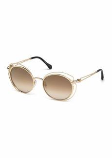 Roberto Cavalli Open-Inset Metal Butterfly Sunglasses