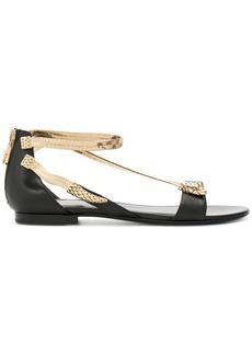 Roberto Cavalli open toe embellished sandals - Black