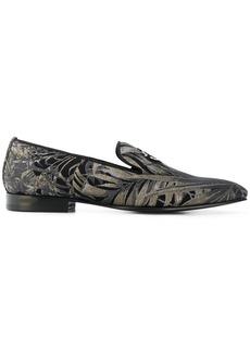 Roberto Cavalli palm print loafers - Black