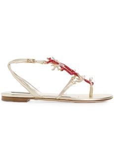Roberto Cavalli rhinestone embellished sandals - Metallic
