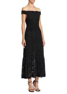 Roberto Cavalli Rib-Knit Off-The-Shoulder Dress