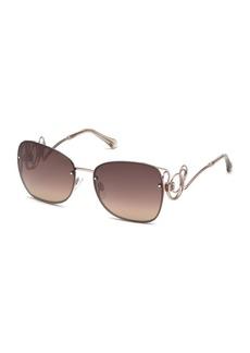 Roberto Cavalli Rimless Square Swirl Sunglasses  Light Bronze/Brown
