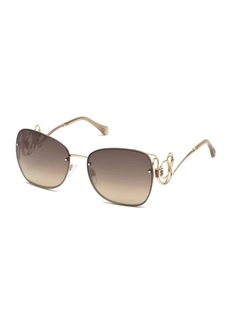 Roberto Cavalli Rimless Square Swirl Sunglasses  Rose Gold/Brown