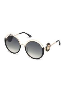 Roberto Cavalli Round Cutout Metal Sunglasses