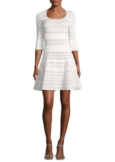 Roberto Cavalli Round-Neck 3/4-Sleeve Fit-and-Flare Knit Dress