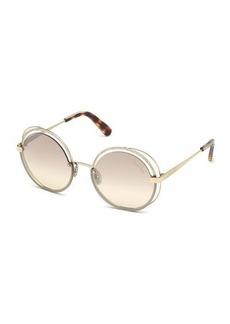 Roberto Cavalli Round Semi-Rimless Metal Sunglasses w/ Crystal Trim