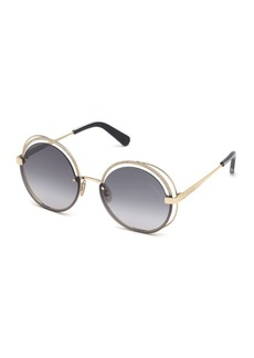 Roberto Cavalli Round Semi-Rimless Metal Sunglasses w/ Crystal Trim