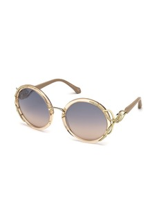 Roberto Cavalli Round Semi-Transparent Acetate Sunglasses
