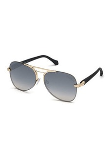 Roberto Cavalli Semi-Rimless Metal Aviator Sunglasses