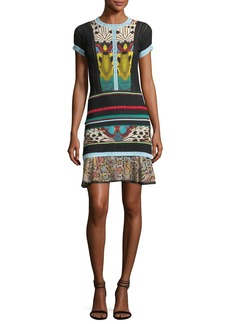 Roberto Cavalli Short-Sleeve Butterfly-Print Mini Dress
