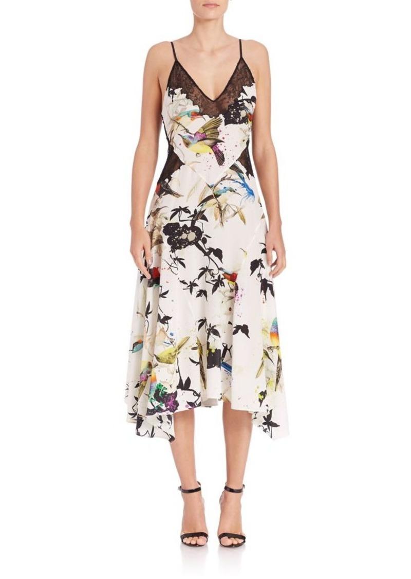 Roberto Cavalli Silk Bird-Print Handkerchief Dress