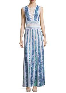 Roberto Cavalli Sleeveless Intarsia Knit Evening Gown