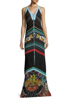 Roberto Cavalli Sleeveless Knit Butterfly-Print Maxi Dress
