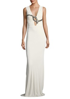 Roberto Cavalli Sleeveless Plunging Beaded-Serpent Crepe Evening Gown