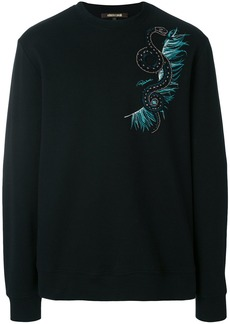 Roberto Cavalli snake embellished sweatshirt - Black