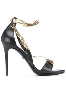 Roberto Cavalli snake motif stiletto sandals - Black