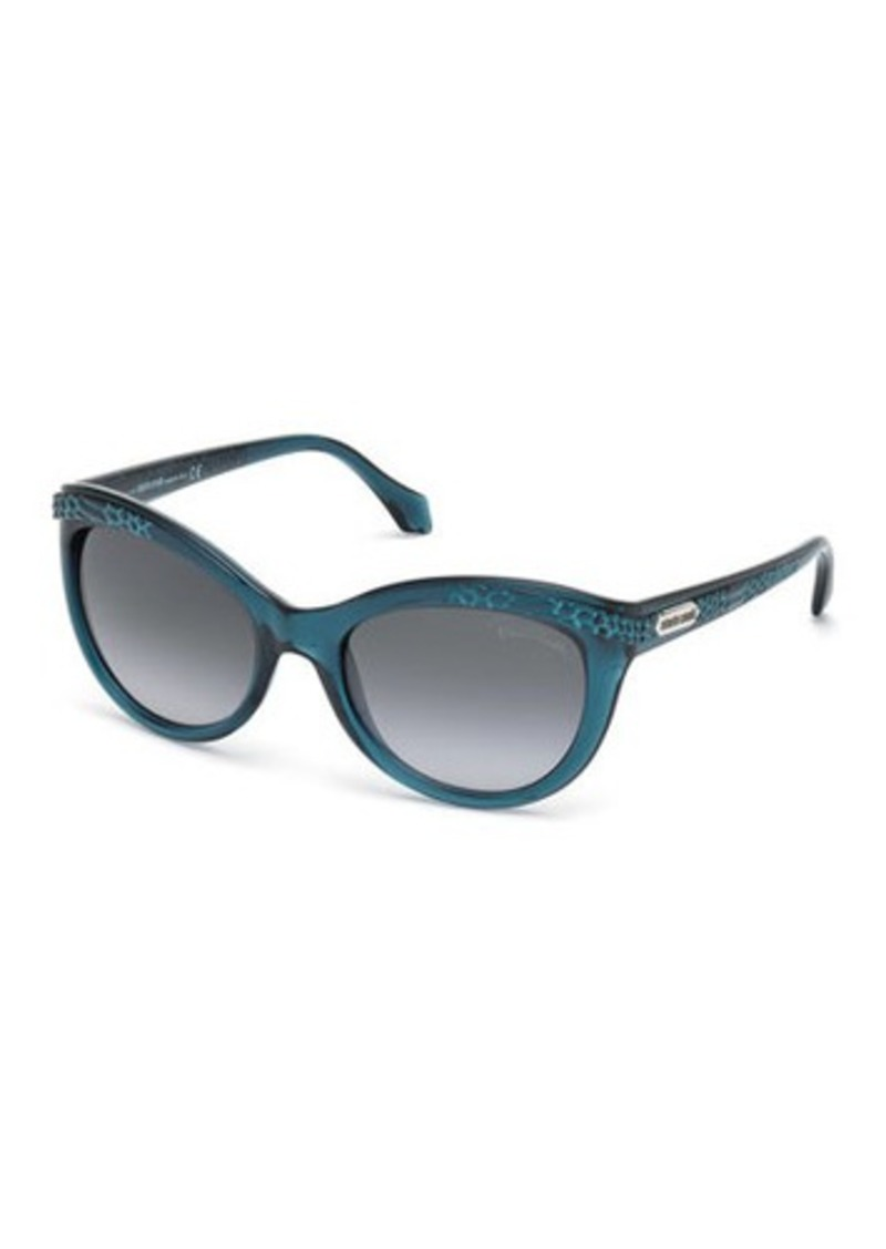 Roberto Cavalli Snake-Print Plastic Cat-Eye Sunglasses