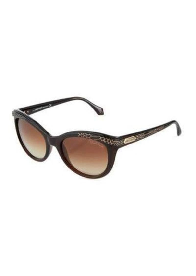Roberto Cavalli Snake-Print Rounded Cat-Eye Sunglasses