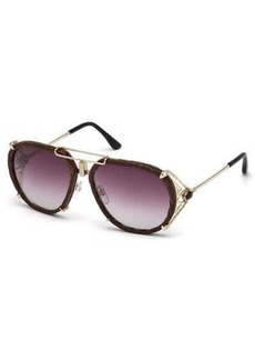 Roberto Cavalli Snakeskin Aviator Sunglasses