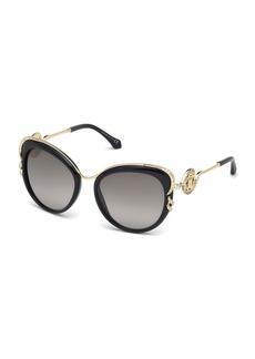 Roberto Cavalli Square Acetate & Metal Crystal-Trim Sunglasses