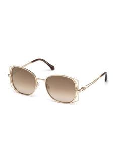 Roberto Cavalli Square Metal Open-Inset Sunglasses  Rose Gold