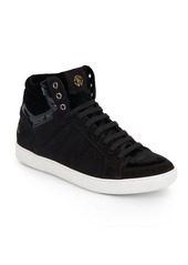 Roberto Cavalli Suede & Velvet High-Top Sneakers