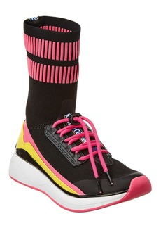 Roberto Cavalli Tall Sock Leather-Trim Sneaker