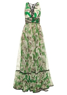 Roberto Cavalli Tropical floral-print silk gown