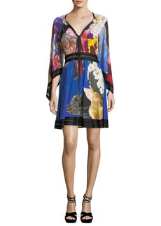 Roberto Cavalli V-Neck Flutter-Sleeve Knit-Waist Floral-Printed Dress