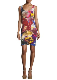 Roberto Cavalli V-Neck Sleeveless Ruched Floral-Print Dress