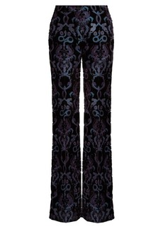 Roberto Cavalli Velvet monkey and snake wide-leg trousers