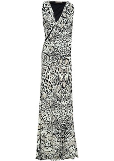 Roberto Cavalli Woman Animal-print Cutout Stretch-jersey Maxi Dress Ivory