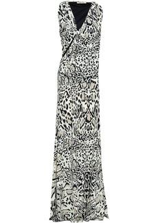 Roberto Cavalli Woman Animal-print Cutout Stretch-jersey Maxi Dress Ivory