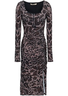 Roberto Cavalli Woman Animal-print Ruched Stretch-jersey Dress Taupe