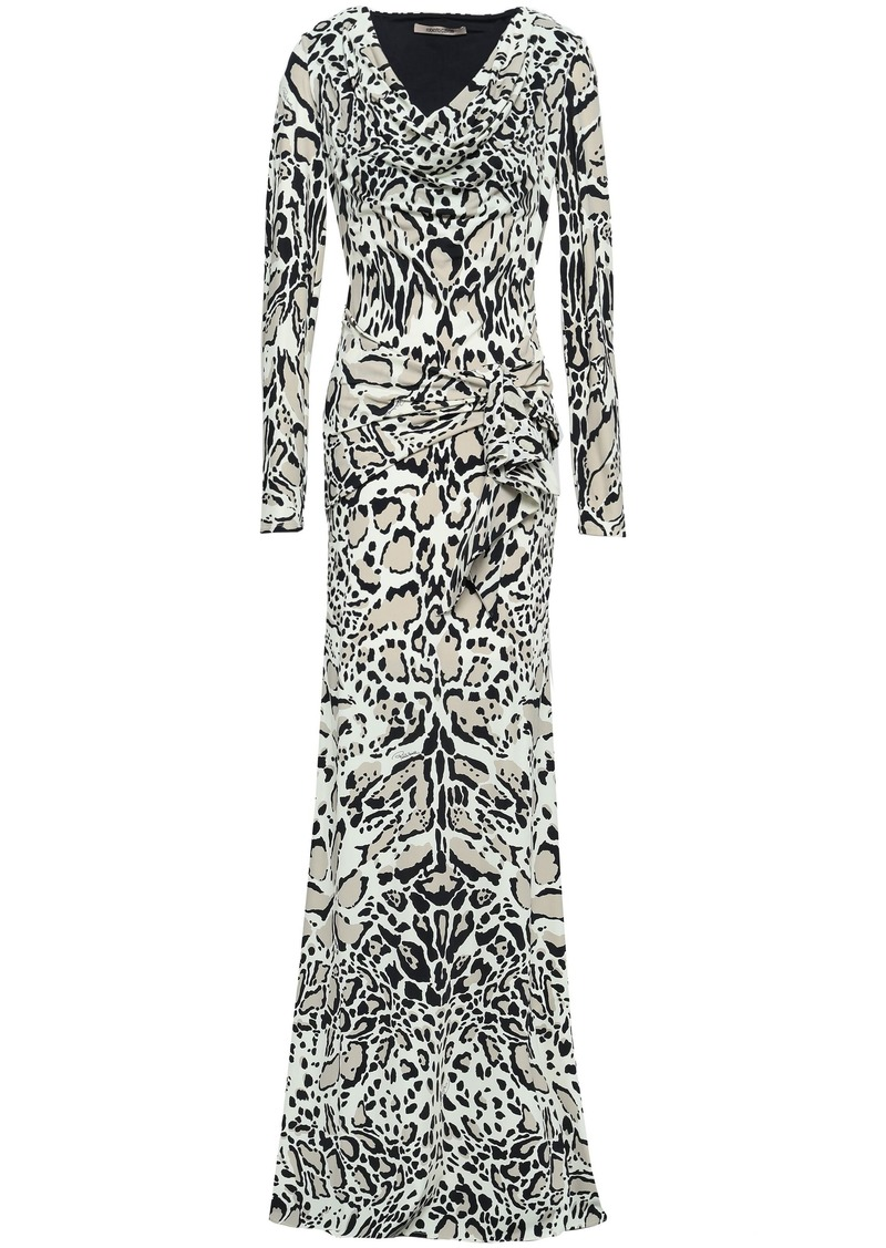 Roberto Cavalli Woman Leopard-print Stretch-jersey Maxi Dress Ivory