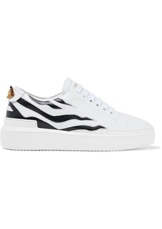 Roberto Cavalli Woman Appliquéd Cutout Leather Sneakers White