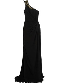 Roberto Cavalli Woman Appliquéd Embellished Gathered Silk-crepe Gown Black
