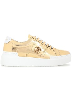 Roberto Cavalli Woman Appliquéd Metallic Cracked-leather Platform Sneakers Gold