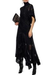 Roberto Cavalli Woman Asymmetric Crochet-knit Turtleneck Maxi Dress Black