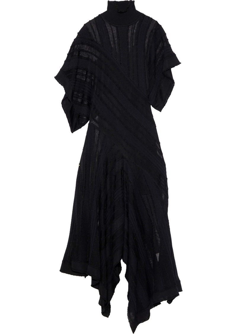 Roberto Cavalli Woman Asymmetric Crochet-knit Turtleneck Maxi Dress Black