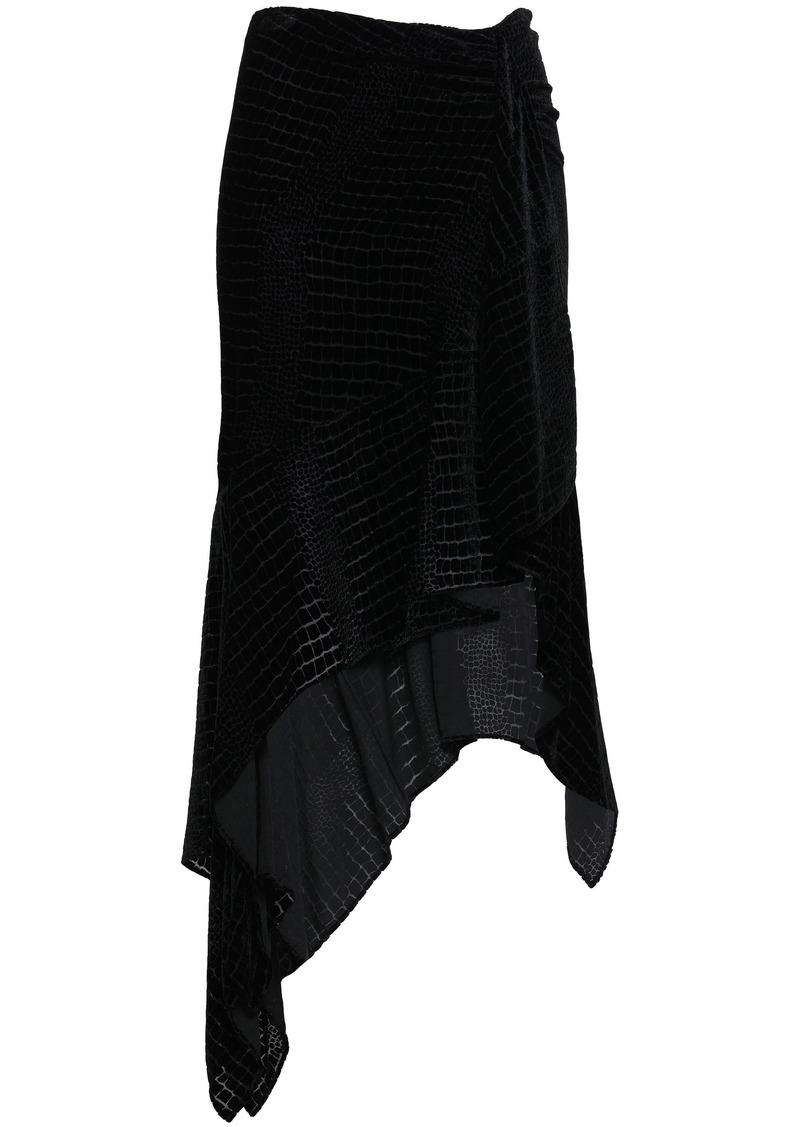 Roberto Cavalli Woman Asymmetric Devoré-velvet Skirt Black