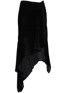 Roberto Cavalli Woman Asymmetric Devoré-velvet Skirt Black