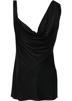 Roberto Cavalli Woman Asymmetric Draped Stretch-jersey Top Black