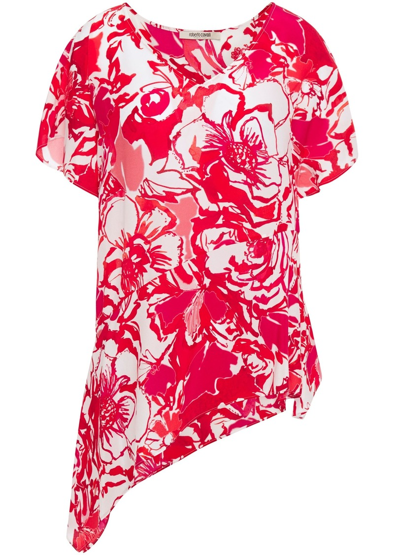 Roberto Cavalli Woman Asymmetric Floral-print Silk Crepe De Chine Top Tomato Red